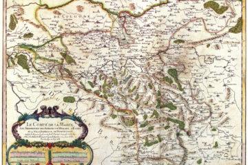 Karte des heutigen Ruhrgebietes von 1681. Von Nicolas Sanson. Gemeinfrei. Quelle: Wikipedia